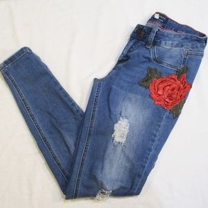 Boom Boom Jeans Distressed Rose Floral Jeans
